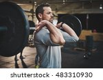 tough bearded man with thick... | Shutterstock . vector #483310930