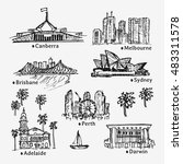 drawing big australian cities.... | Shutterstock .eps vector #483311578