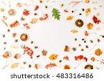 autumn fall flat lay  top view...   Shutterstock . vector #483316486