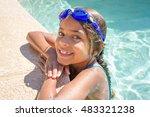 summer girl in the pool | Shutterstock . vector #483321238