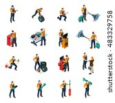 car service isometric icons set ... | Shutterstock .eps vector #483329758