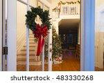 christmas wreath on a glass... | Shutterstock . vector #483330268