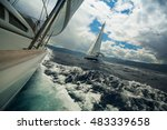 sailing ship luxury yachts... | Shutterstock . vector #483339658
