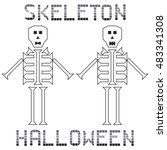 skeleton halloween set text on... | Shutterstock .eps vector #483341308