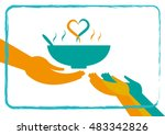 giving food to the hungry... | Shutterstock .eps vector #483342826
