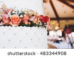 beautiful wedding cake with... | Shutterstock . vector #483344908