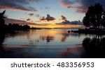 Wonderful sunset on Lake Vanern in a little bay (Sweden)