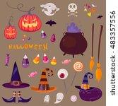 halloween set in cartoon style | Shutterstock .eps vector #483357556