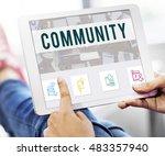community online communication... | Shutterstock . vector #483357940