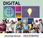 social media networking online... | Shutterstock . vector #483358000