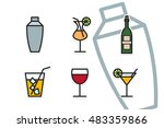 cocktail shaker and drinks icon ... | Shutterstock .eps vector #483359866