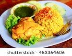 asian food thai chicken biryani ... | Shutterstock . vector #483364606