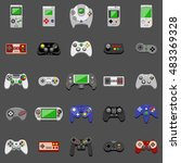 video game icons set. flat... | Shutterstock .eps vector #483369328