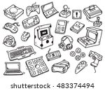 set of video game doodle | Shutterstock .eps vector #483374494