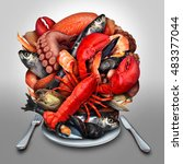 Small photo of Seafood plate concept as a group of shellfish crustacean and fish grouped together on a dinner place setting as a fresh meal from the sea as lobster steamed clams mussels shrimp octopus and sardines.