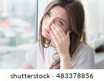 young sad woman sits alone... | Shutterstock . vector #483378856