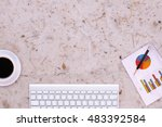 phone  blank note paper  pencil ... | Shutterstock . vector #483392584