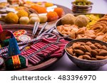 indian sweet food and fire... | Shutterstock . vector #483396970