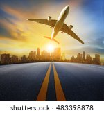 road perspective to town and... | Shutterstock . vector #483398878