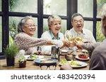 group of senior retirement meet ... | Shutterstock . vector #483420394