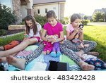 three little girls playing on... | Shutterstock . vector #483422428