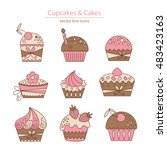 set of color cupcakes and cakes ... | Shutterstock .eps vector #483423163