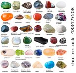 Small photo of collection of various tumbled gemstones with names isolated on white background