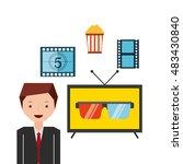 cinema entertainment set flat... | Shutterstock .eps vector #483430840