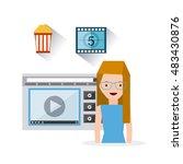 cinema entertainment set flat... | Shutterstock .eps vector #483430876