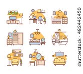 home room icons. interior... | Shutterstock .eps vector #483442450