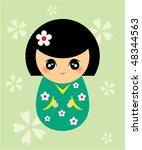 japanese kokeshi doll | Shutterstock .eps vector #48344563