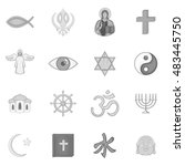 religion symbols icons set in... | Shutterstock .eps vector #483445750