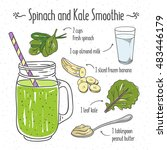 veggie smoothie recipe. spinach ... | Shutterstock .eps vector #483446179
