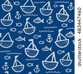 blue nautical pattern | Shutterstock .eps vector #483447460