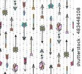 arrows seamless pattern. hand...   Shutterstock .eps vector #483448108