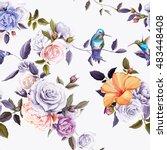 humming bird  roses  carnation... | Shutterstock .eps vector #483448408