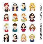 avatar illustrations of women... | Shutterstock .eps vector #483474064