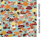 seamless pattern with cups ...   Shutterstock .eps vector #483474403