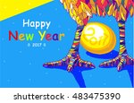 rooster 2017 chinese  new year... | Shutterstock .eps vector #483475390