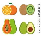 orange papaya kiwi and avocado...   Shutterstock .eps vector #483475414