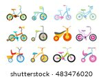 set of kids bicycles and... | Shutterstock .eps vector #483476020