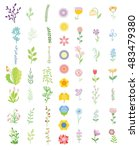 colorful floral collection with ... | Shutterstock .eps vector #483479380