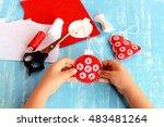 child holding a christmas ball... | Shutterstock . vector #483481264