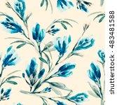 summer flowers seamless pattern....   Shutterstock . vector #483481588