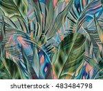 seamless tropical flower ... | Shutterstock . vector #483484798