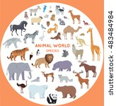 set of animal species vector.... | Shutterstock .eps vector #483484984