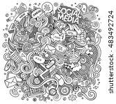 cartoon cute doodles hand drawn ... | Shutterstock .eps vector #483492724