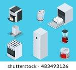 isometric home appliances. set... | Shutterstock .eps vector #483493126