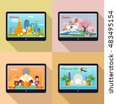 set of traveling advertisement...   Shutterstock .eps vector #483495154