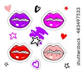 set fashion patch badges. hand... | Shutterstock .eps vector #483497533